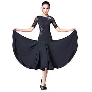 cheap Latin Dancewear-Ballroom Dance Dress Split Joint Crystals / Rhinestones Women's Training Performance Short Sleeve Ice Silk Spandex