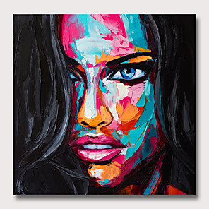 cheap Abstract Paintings-Oil Painting Hand Painted - People Pop Art Modern Rolled Canvas