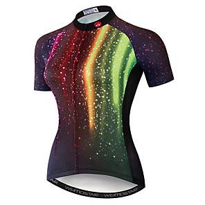 cheap Cycling Jerseys-21Grams Women's Short Sleeve Cycling Jersey Polyester Elastane Red Galaxy Bike Jersey Top Mountain Bike MTB Road Bike Cycling Breathable Quick Dry Moisture Wicking Sports Clothing Apparel