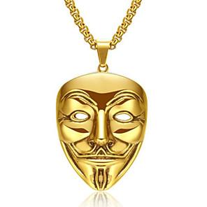 cheap Pendant Necklaces-Men's Women's Gold Pendant Necklace Statement Necklace Rolo Totem Series Face XOXO Statement Punk Trendy Rock 18K Gold Plated Chrome 24K Gold Plated Gold Silver 60 cm Necklace Jewelry 1pc For