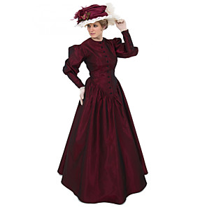 cheap Historical & Vintage Costumes-Duchess Victorian Ball Gown 1910s Edwardian Dress Party Costume Women's Costume Red Vintage Cosplay Masquerade Long Sleeve Floor Length Long Length Ball Gown Plus Size
