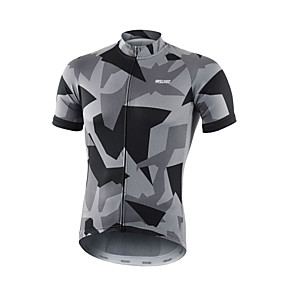 cheap Cycling Jerseys-Arsuxeo Men's Short Sleeve Cycling Jersey Polyester White Red Grey Bike Jersey Top Mountain Bike MTB Road Bike Cycling Breathable Quick Dry Moisture Wicking Sports Clothing Apparel / Micro-elastic