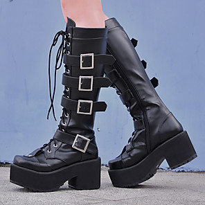 cheap Lolita Footwear-Women's Lolita Shoes Boots Punk Wedge Heel Shoes Solid Colored 8 cm Black PU Leather / Polyurethane Leather Halloween Costumes