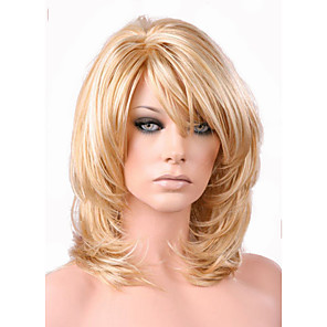 cheap Synthetic Trendy Wigs-Synthetic Wig Loose Curl Layered Haircut Wig Blonde Medium Length Light golden Synthetic Hair 38~42 inch Women's New Arrival Blonde