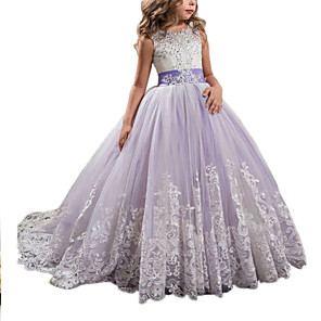 cheap Movie & TV Theme Costumes-Princess Sweep / Brush Train Wedding / Birthday / Pageant Flower Girl Dresses - Tulle / Mikado Sleeveless Jewel Neck with Bow(s) / Appliques / Crystals / Rhinestones