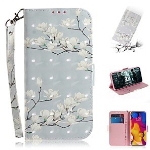 cheap Other Phone Case-Case For LG V40 THINQ / LG Stylo 5 / LG G8 THINQ Wallet / Card Holder / Shockproof Full Body Cases Magnolia Flower PU Leather