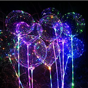 cheap LED String Lights-1pc Luminous Led Balloon Transparent Round Bubble Decoration Birthday Party Wedding Decor LED Balloons Christmas Gift
