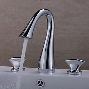 cheap Bathroom Sink Faucets-Bathroom Sink Faucet - Widespread Chrome Widespread Two Handles Three HolesBath Taps