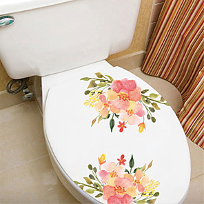 cheap Wall Stickers-Floral / Botanical Wall Stickers Plane Wall Stickers Toilet Stickers, Paper Home Decoration Wall Decal Wall / Toilet Decoration 1pc / Removable