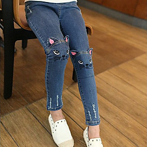 cheap Athletic Swimwear-Girl Embroidered Kitten Cute Pattern Cat / Bunny Jeans Fashion Trousers