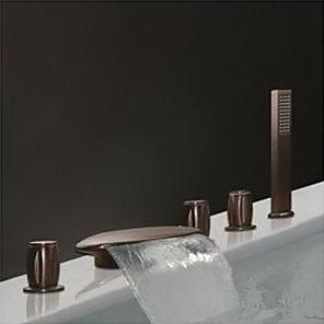 cheap Bathtub Faucets-Bathtub Faucet - Antique Oil-rubbed Bronze Widespread Brass Valve Bath Shower Mixer Taps
