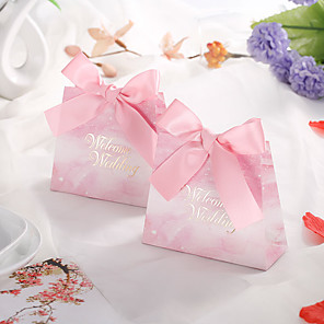 cheap Favor Holders-Taper Shape Card Paper Favor Holder with Ribbons Gift Boxes - 50 Pieces
