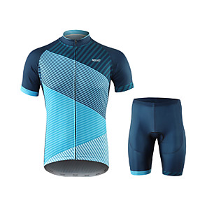 cheap Triathlon Clothing-Arsuxeo Men's Short Sleeve Cycling Jersey with Shorts Blue Stripes Bike Quick Dry Sports Spandex Creative Mountain Bike MTB Road Bike Cycling Clothing Apparel / Micro-elastic / Triathlon