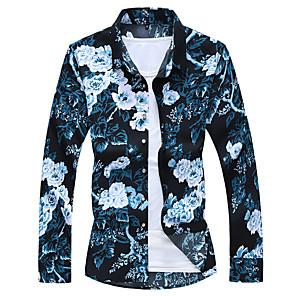 cheap Tool Sets-Men's Plus Size Shirt Floral Print Long Sleeve Tops Streetwear Classic Collar Black Blue