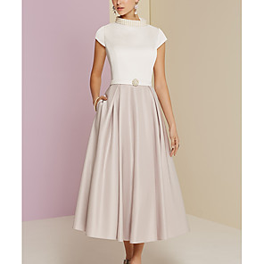 cheap Wedding Shoes-A-Line Mother of the Bride Dress Vintage Plus Size High Neck Tea Length Satin Short Sleeve with Pearls 2020