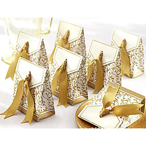 cheap Wedding Decorations-Triangle Cardboard Favor Holder with Ribbons Favor Boxes / Favor Bags / Gift Boxes - 100pcs