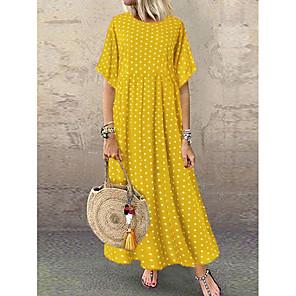 cheap Bathroom Gadgets-Women's A-Line Dress Maxi long Dress - Short Sleeve Polka Dot Print Summer Plus Size Casual Holiday Vacation Loose High Waist 2020 Yellow Wine Navy Blue L XL XXL XXXL XXXXL XXXXXL
