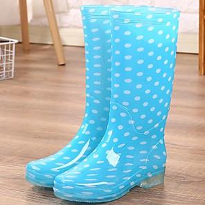 cheap Women's Boots-Women's Boots Rain Boots Low Heel PVC(Polyvinyl chloride) Mid-Calf Boots Spring Blue / Pink
