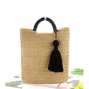 cheap Handbag & Totes-Women's Straw Top Handle Bag Solid Color Brown / Beige