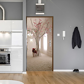 cheap Wall Stickers-Creative Tree Door Stickers Decorative Waterproof Door Decal Decor - Plane Wall Stickers Floral / Botanical / Landscape Study Room / Office / Dining Room / Kitchen