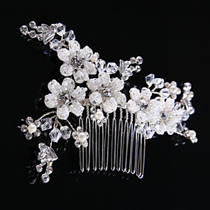 cheap Phone Mounts & Holders-Women's Hair Combs Hair Jewelry For Wedding Wedding Geometrical Crystal Alloy Silver 1pc