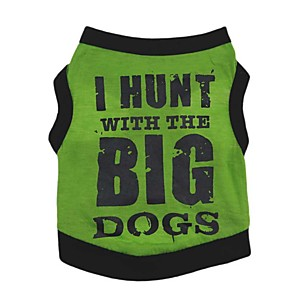 cheap Dog Clothes-Dogs Vest Dog Clothes Orange Yellow Green Costume Dalmatian Corgi Beagle Cotton Quotes & Sayings Casual / Daily Simple Style XS S M L