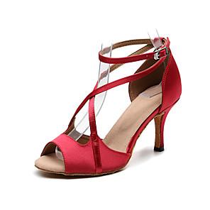 cheap Women's Boots-Women's Dance Shoes Satin Latin Shoes Buckle Heel Slim High Heel Customizable Black / Drak Red / Blue / Practice