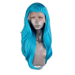 cheap Synthetic Lace Wigs-Synthetic Lace Front Wig Wavy Side Part Lace Front Wig Long Blue Synthetic Hair 20-26 inch Women's Adjustable Heat Resistant Party Blue