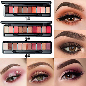 cheap Eyeshadows-10 Color Matte Pearl Set With Brush Eyeshadow Tray Lasting Natural Easy To Color Sexy Fashion Makeup Eye Shadow Tray