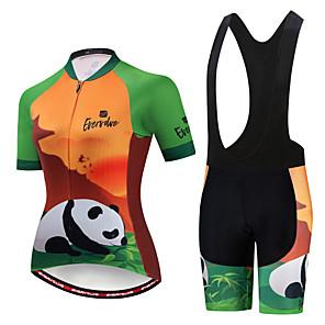 cheap Triathlon Clothing-EVERVOLVE Women's Short Sleeve Cycling Jersey with Bib Shorts Black White Animal Panda Bike Clothing Suit Breathable Moisture Wicking Quick Dry Anatomic Design Sports Cotton Lycra Animal Mountain