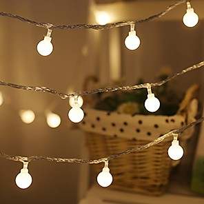 cheap LED String Lights-1.5m String Lights 10 LEDs Waterproof Ball Lights EL Warm White Cold White Multi Color Battery Powered Starry Fairy String Lights for Bedroom, Garden, Christmas Tree, Wedding, Party 1pc