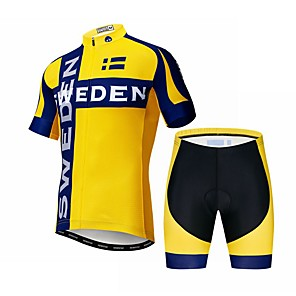 cheap Cycling Jerseys-21Grams Sweden National Flag Men's Short Sleeve Cycling Jersey with Shorts - Black / Yellow Bike Clothing Suit Breathable Quick Dry Sports Elastane Terylene Mountain Bike MTB Road Bike Cycling