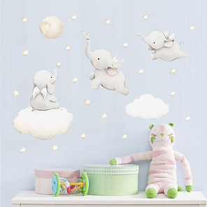 cheap Wall Stickers-Watercolor Elephant Star Nebula Wall Adhesion Children'S Room Bedroom Self-Adhesive Paper Wallpaper Decorative Wall Stickers - Animal Wall Stickers / Plane Wall Stickers Still Life / Animals Kids Room