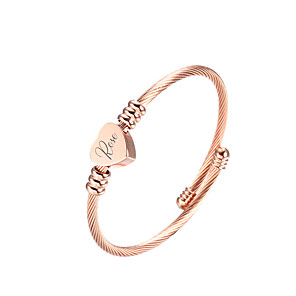 cheap Engraved Bracelets-Personalized Customized Bracelet Titanium Steel Classic Name Engraved Gift Promise Festival Circle Heart Shape 1pcs Gold Silver Rose Gold / Laser Engraving