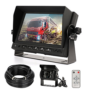 cheap Car Rear View Camera-Rear View Camera Kit with 7 LCD Monitor & 120 Wide Angle Rearview Camera IP68 Waterproof 18IR Night Vision Reversing Camera for Truck Trailer Bus Van Agriculture Heavy Transport (9-32V)