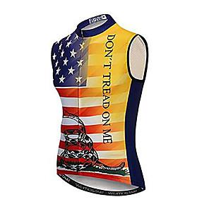 cheap Triathlon Clothing-21Grams National Flag Men's Sleeveless Cycling Jersey - Black / Red Bike Jersey Top Breathable Quick Dry Moisture Wicking Sports Elastane Terylene Polyester Taffeta Mountain Bike MTB Road Bike Cycling