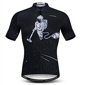 cheap Cycling Jerseys-21Grams Astronaut Men's Short Sleeve Cycling Jersey - Black / White Bike Jersey Top Breathable Moisture Wicking Quick Dry Sports Polyester Elastane Mountain Bike MTB Road Bike Cycling Clothing Apparel