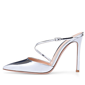 cheap Women's Heels-Women's Clogs & Mules Stiletto Heel Pointed Toe Buckle Faux Leather Minimalism Spring & Summer / Fall & Winter Silver / Party & Evening