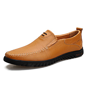 cheap Men's Sneakers-Men's Cowhide Fall / Spring & Summer Casual / British Loafers & Slip-Ons Breathable Light Brown / Dark Brown / Black