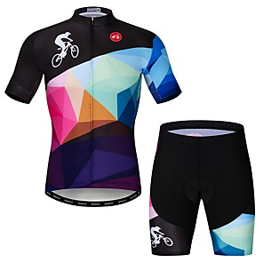 cheap Cycling Jerseys-21Grams Men's Short Sleeve Cycling Jersey with Shorts Elastane Rough Black Novelty Bike Clothing Suit Breathable Quick Dry Sports Novelty Mountain Bike MTB Road Bike Cycling Clothing Apparel