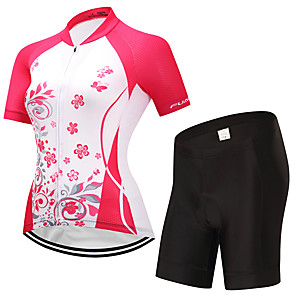 cheap Cycling Jersey & Shorts / Pants Sets-FUALRNY® Women's Short Sleeve Cycling Jersey with Shorts Red Bike Moisture Wicking Quick Dry Sports Patchwork Mountain Bike MTB Road Bike Cycling Clothing Apparel / Stretchy