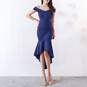 cheap Cocktail Dresses-Mermaid / Trumpet Elegant & Luxurious Elegant Holiday Cocktail Party Dress Off Shoulder Short Sleeve Asymmetrical Satin with 2020