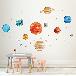 cheap Wall Stickers-Nine Planetary Walls With Self-Adhesive Decorative Graffiti Stickers For Planetary Walls Of Creative Children'S Houses Decorative Wall Stickers - Plane Wall Stickers Animals Kids Room / Nursery