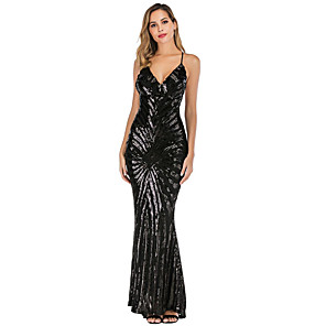 cheap Historical & Vintage Costumes-Diva Disco 1980s Dress Women's Sequins Costume Black / Beige Vintage Cosplay Prom Sleeveless Floor Length Mermaid / Trumpet
