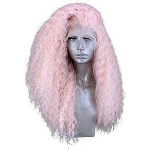 cheap Synthetic Lace Wigs-Synthetic Lace Front Wig Curly Side Part Lace Front Wig Pink Long Pink Synthetic Hair 18-24 inch Women's Adjustable Heat Resistant Party Pink