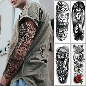 abordables autocollants de tatouage-4pcs / lot autocollants de tatouage temporaire bras complet pour hommes femmes noir mort crâne note super grand grand imperméable manches de tatouage