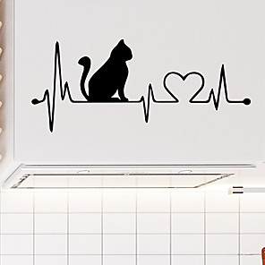 cheap Wall Stickers-Heartbeat Cat  Wall Stickers - Animal Wall Stickers Animals / Landscape Study Room / Office / Dining Room / Kitchen