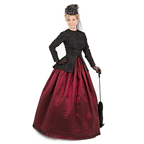 cheap Historical & Vintage Costumes-Duchess Cerridwen Goddess Victorian 1910s Edwardian Dress Party Costume Women's Feather Costume Red / black Vintage Cosplay Daily Wear Long Sleeve Floor Length Ball Gown Plus Size / Blouse / Blouse