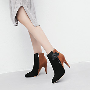 cheap Women's Boots-Women's Boots Cone Heel Pointed Toe Tassel Suede Booties / Ankle Boots Chinoiserie Fall & Winter Pink / Brown / Party & Evening / Color Block