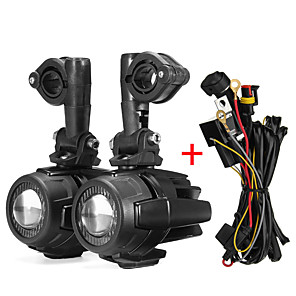 cheap Motorcycle Lighting-Second Generation LED Auxiliary Fog Light Spot Beam Lamp Aluminum Alloy With Wiring Harness Switch Cable For BMW R1200GS F800GS